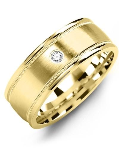 Men's & Women's Yellow Gold & Yellow Gold + 1 Diamond 0.05ct Wedding Band