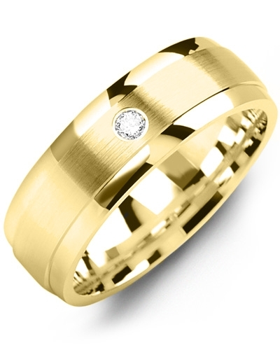 Men's & Women's Yellow Gold + 1 Diamond tcw 0.05 Wedding Band from MADANI Rings. Wedding bands, fashion rings, promise rings, made of Tungsten, Ceramic, Cobalt, and Gold. View the collection at madanirings.com