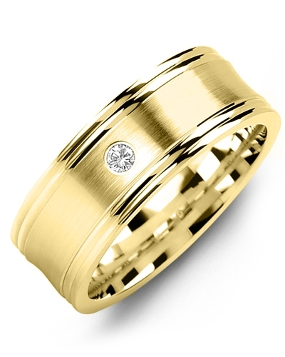 Men's & Women's Yellow Gold + 1 Diamond 0.05ct Wedding Band from MADANI Rings. Wedding bands, fashion rings, promise rings, made of Tungsten, Ceramic, Cobalt, and Gold. View the collection at madanirings.com