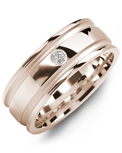 Men's & Women's Rose Gold + 1 Diamond 0.05ct Wedding Band