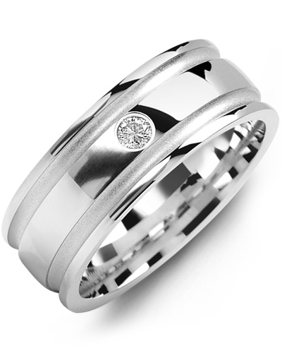 Men's & Women's White Gold + 1 Diamond tcw 0.05 Wedding Band 10K 10mm