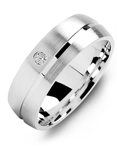 Men's & Women's White Gold + 1 Diamond 0.05ct Wedding Band from MADANI Rings. Wedding bands, fashion rings, promise rings, made of Tungsten, Ceramic, Cobalt, and Gold. View the collection at madanirings.com