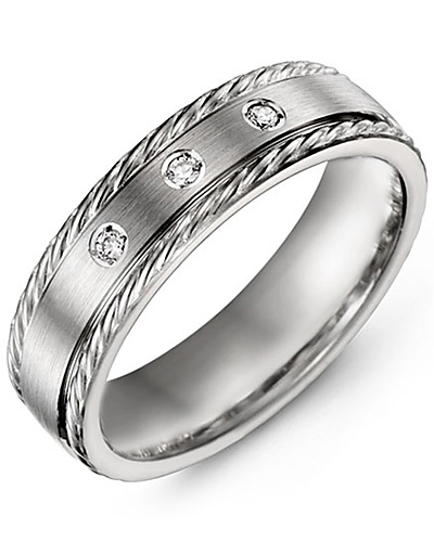 Men's & Women's White Gold + 3 Diamonds tcw 0.06 Wedding Band from MADANI Rings. Wedding bands, fashion rings, promise rings, made of Tungsten, Ceramic, Cobalt, and Gold. View the collection at madanirings.com