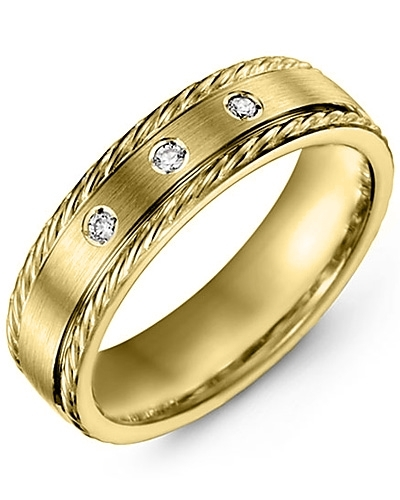 Men's & Women's Yellow Gold + 3 Diamonds 0.06ct Wedding Band 18K 6mm