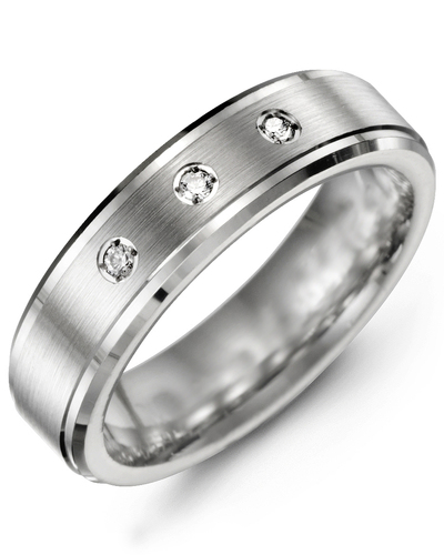 Men's & Women's White Gold & White Gold + 3 Diamonds 0.06ct Wedding Band from MADANI Rings. Wedding bands, fashion rings, promise rings, made of Tungsten, Ceramic, Cobalt, and Gold. View the collection at madanirings.com