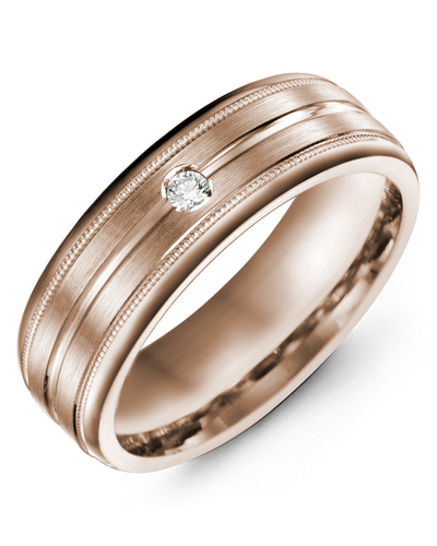 Men's & Women's Rose Gold + 1 Diamond 0.05ct Wedding Band from MADANI Rings. Wedding bands, fashion rings, promise rings, made of Tungsten, Ceramic, Cobalt, and Gold. View the collection at madanirings.com