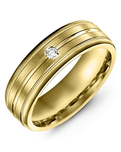 Men's & Women's Yellow Gold + 1 Diamond 0.05ct Wedding Band 18K 6mm
