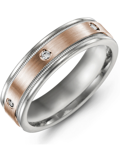 Men's & Women's White Gold & Rose Gold + 3 Diamonds 0.06ct Wedding Band
