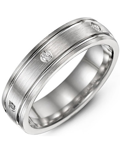 Men's & Women's White Gold + 3 Diamonds tcw 0.06 Wedding Band