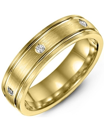 Men's & Women's Yellow Gold + 3 Diamonds tcw 0.06 Wedding Band