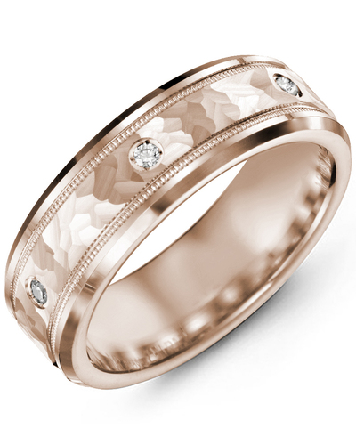 Men's & Women's Rose Gold + 3 Diamonds 0.06ct Wedding Band