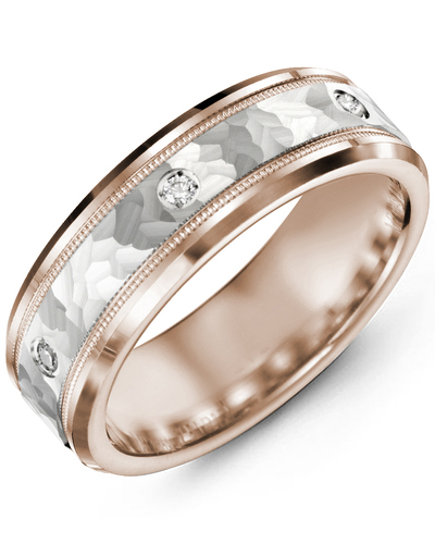 Men's & Women's Rose Gold & White Gold + 3 Diamonds 0.06ct Wedding Band