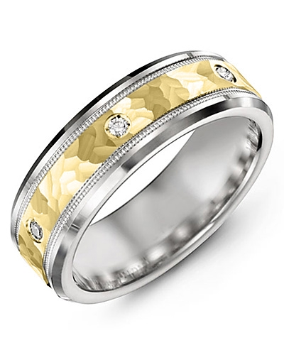 Men's & Women's White Gold & Yellow Gold + 3 Diamonds 0.06ct Wedding Band