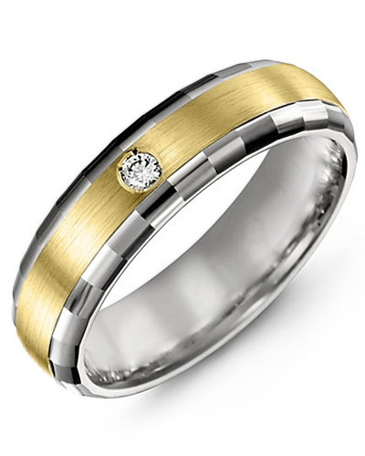Men's & Women's White Gold & Yellow Gold + 1 Diamond tcw 0.05 Wedding Band