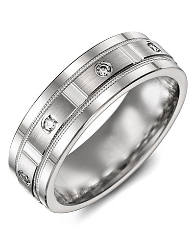 Men's & Women's White Gold & White Gold + 4 Diamonds tcw 0.08 Wedding Band from MADANI Rings. Wedding bands, fashion rings, promise rings, made of Tungsten, Ceramic, Cobalt, and Gold. View the collection at madanirings.com