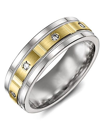 Men's & Women's White Gold & Yellow Gold + 4 Diamonds 0.08ct Wedding Band 10K 6mm