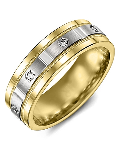 Men's & Women's Yellow Gold & White Gold + 4 Diamonds tcw 0.08 Wedding Band 10K 9mm