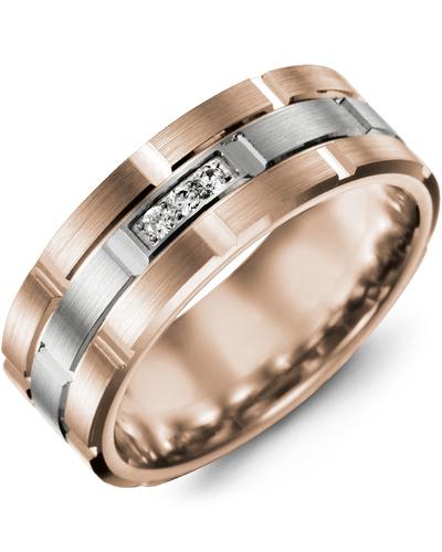 Men's & Women's Rose Gold & White Gold + 3 Diamonds 0.06ct Wedding Band