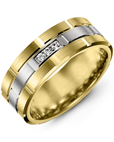 Men's & Women's Yellow Gold & White Gold + 3 Diamonds 0.06ct Wedding Band