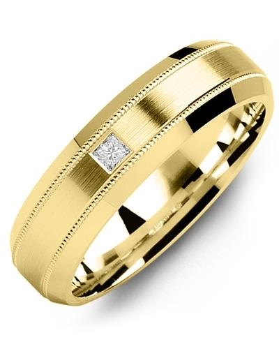 Men's & Women's Yellow Gold + 1 Diamond tcw. 0.05 Wedding Band 10K 10mm