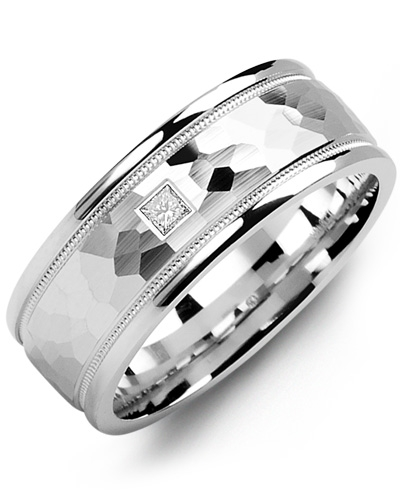 Men's & Women's White Gold + 1 Diamond 0.05ct Wedding Band