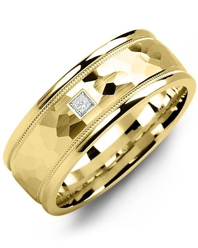 Men's & Women's Yellow Gold + 1 Diamond 0.05ct Wedding Band 10K 6mm