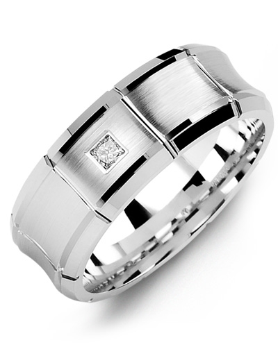 Men's & Women's White Gold + 1 Diamond tcw. 0.05 Wedding Band from MADANI Rings. Wedding bands, fashion rings, promise rings, made of Tungsten, Ceramic, Cobalt, and Gold. View the collection at madanirings.com