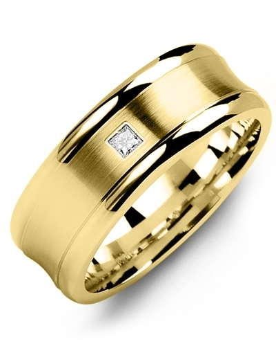 Men's & Women's Yellow Gold + 1 Diamond tcw. 0.05 Wedding Band from MADANI Rings. Wedding bands, fashion rings, promise rings, made of Tungsten, Ceramic, Cobalt, and Gold. View the collection at madanirings.com