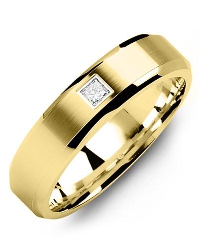 Men's & Women's Yellow Gold + 1 Diamond 0.05ct Wedding Band 18K 6mm