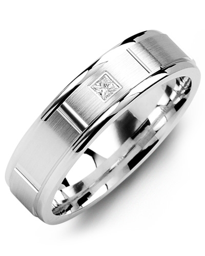 Men's & Women's White Gold + 1 Diamond tcw. 0.05 Wedding Band