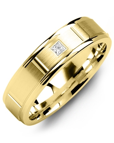 Men's & Women's Yellow Gold + 1 Diamond tcw. 0.05 Wedding Band