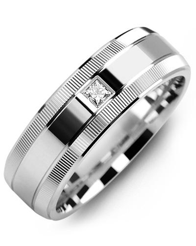 Men's & Women's White Gold + 1 Diamond 0.05ct Wedding Band 10K 6mm