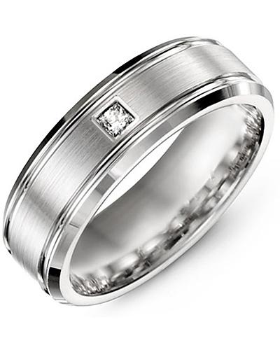 Men's & Women's White Gold + 1 Diamond 0.07ct Wedding Band 18K 9mm