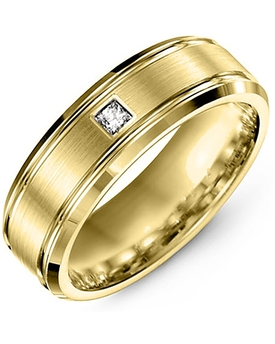 Men's & Women's Yellow Gold + 1 Diamond tcw. 0.07 Wedding Band