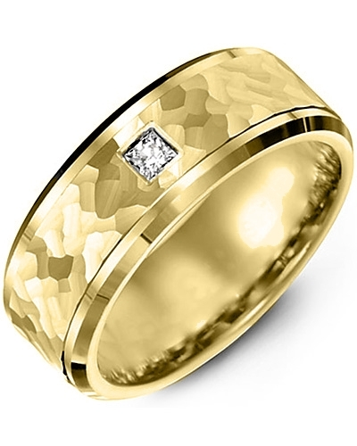 Men's & Women's Yellow Gold + 1 Diamond 0.07ct Wedding Band 10K 6mm