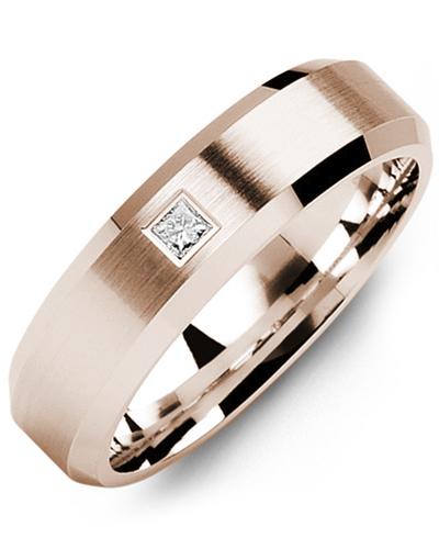 Men's & Women's Rose Gold + 1 Diamond 0.07ct Wedding Band
