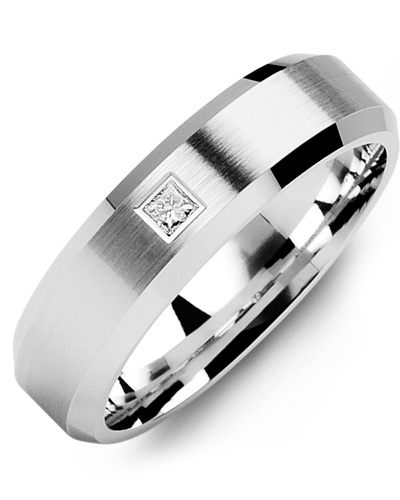 Men's & Women's White Gold + 1 Diamond tcw. 0.07 Wedding Band from MADANI Rings. Wedding bands, fashion rings, promise rings, made of Tungsten, Ceramic, Cobalt, and Gold. View the collection at madanirings.com