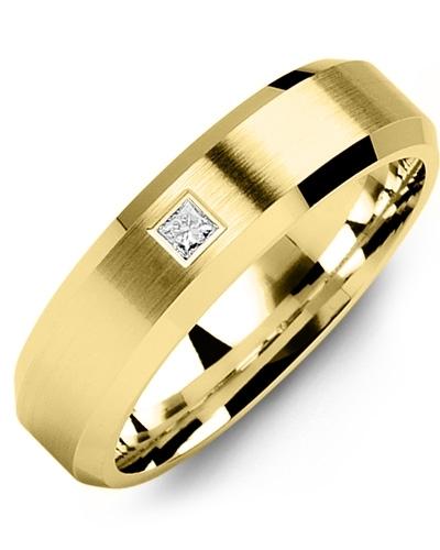 Men's & Women's Yellow Gold + 1 Diamond 0.07ct Wedding Band