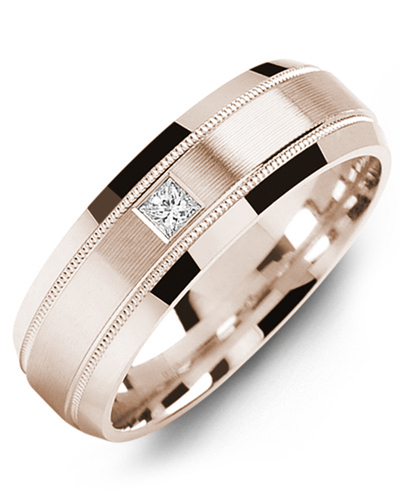 Men's & Women's Rose Gold + 1 Diamond 0.07ct Wedding Band from MADANI Rings. Wedding bands, fashion rings, promise rings, made of Tungsten, Ceramic, Cobalt, and Gold. View the collection at madanirings.com