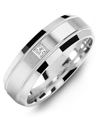 Men's & Women's White Gold + 1 Diamond 0.07ct Wedding Band