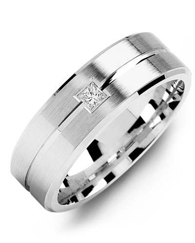 Men's & Women's White Gold & White Gold + 1 Diamond tcw. 0.05 Wedding Band from MADANI Rings. Wedding bands, fashion rings, promise rings, made of Tungsten, Ceramic, Cobalt, and Gold. View the collection at madanirings.com