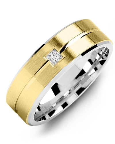 Men's & Women's White Gold & Yellow Gold + 1 Diamond tcw. 0.05 Wedding Band