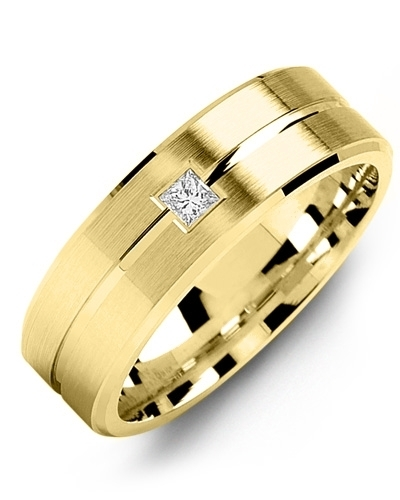 Men's & Women's Yellow Gold & Yellow Gold + 1 Diamond 0.05ct Wedding Band