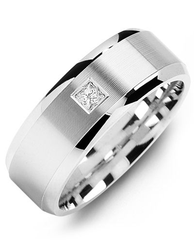 Men's & Women's White Gold + 1 Diamond 0.07ct Wedding Band from MADANI Rings. Wedding bands, fashion rings, promise rings, made of Tungsten, Ceramic, Cobalt, and Gold. View the collection at madanirings.com