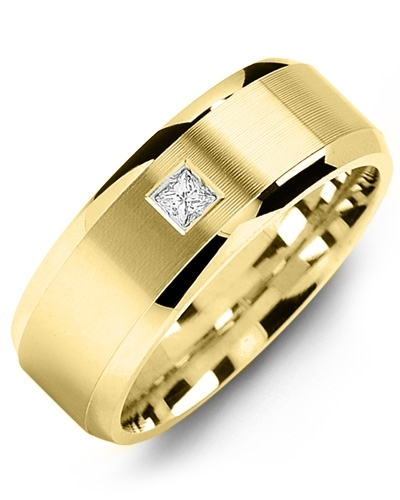 Men's & Women's Yellow Gold + 1 Diamond tcw. 0.07 Wedding Band 10K 10mm