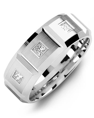 Men's & Women's White Gold + 3 Diamonds 0.21ct Wedding Band 10K 6mm