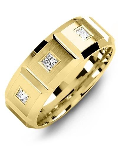 Men's & Women's Yellow Gold + 3 Diamonds 0.21ct Wedding Band 10K 6mm