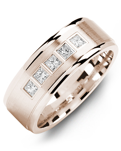 Men's & Women's Rose Gold + 5 Diamonds 0.35ct Wedding Band