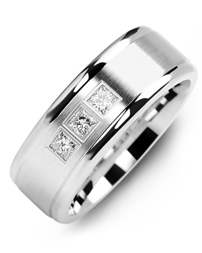 Men's & Women's White Gold + 3 Diamonds 0.21ct Wedding Band from MADANI Rings. Wedding bands, fashion rings, promise rings, made of Tungsten, Ceramic, Cobalt, and Gold. View the collection at madanirings.com