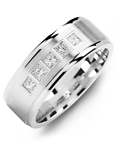 Men's & Women's White Gold + 5 Diamonds 0.35ct Wedding Band from MADANI Rings. Wedding bands, fashion rings, promise rings, made of Tungsten, Ceramic, Cobalt, and Gold. View the collection at madanirings.com